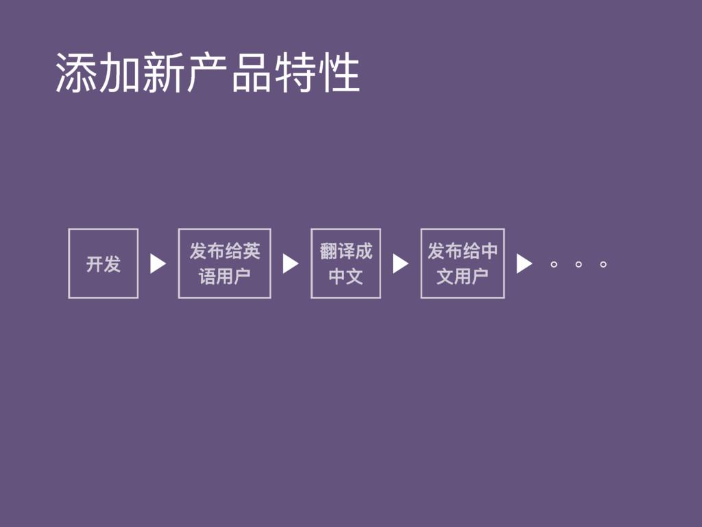 添加新产品特性 开发 发布给英 语⽤用户 翻译成 中⽂文 发布给中 ⽂文⽤用户 。。。