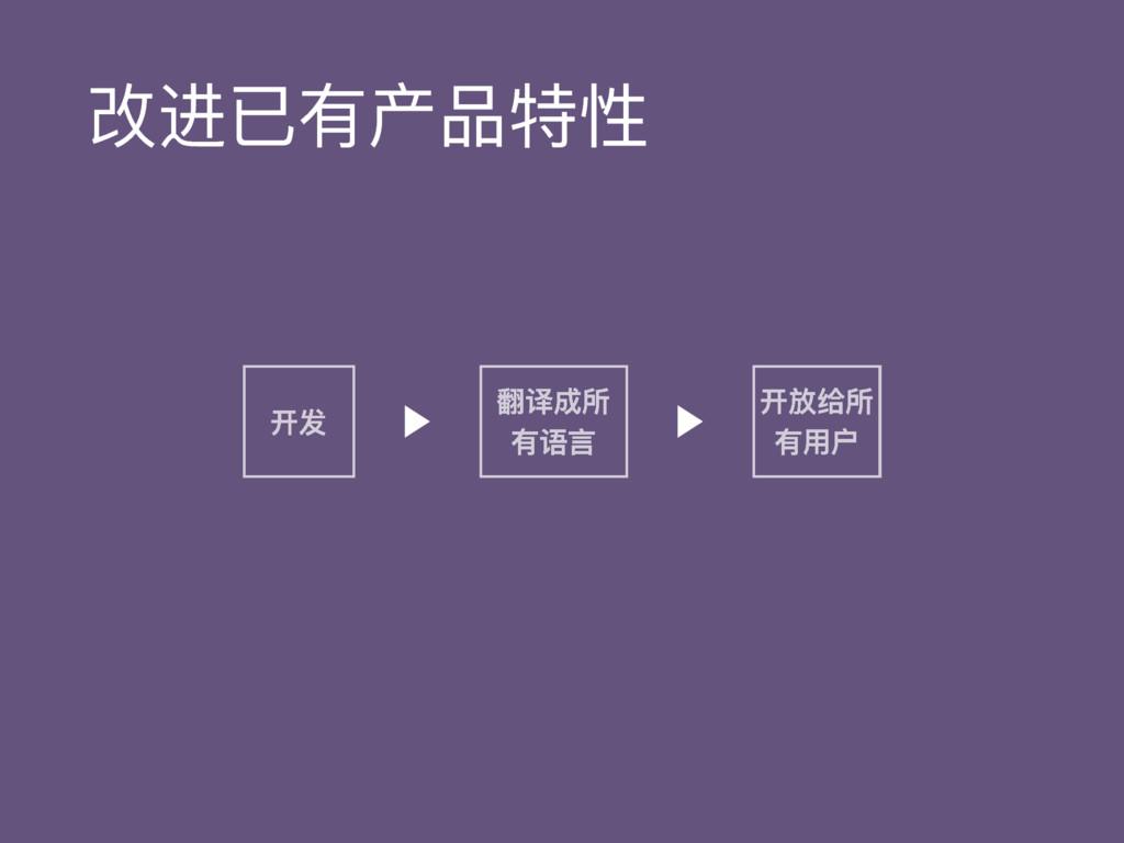 改进已有产品特性 开发 翻译成所 有语⾔言 开放给所 有⽤用户