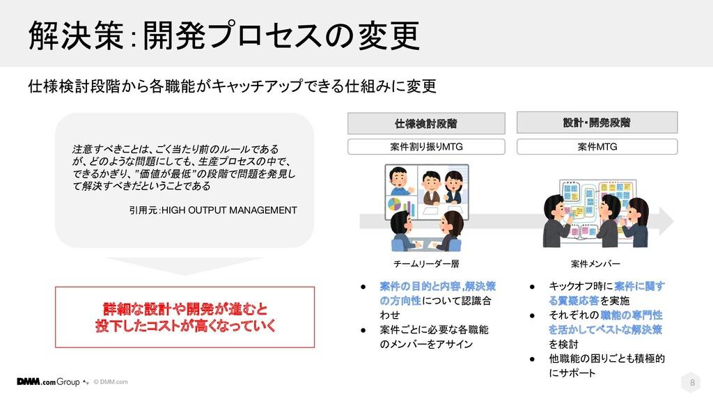 © DMM.com 解決策:開発プロセスの変更 仕様検討段階から各職能がキャッチアップできる仕...