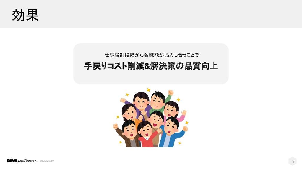 © DMM.com 効果 9 仕様検討段階から各職能が協力し合うことで 手戻りコスト削減&解決...