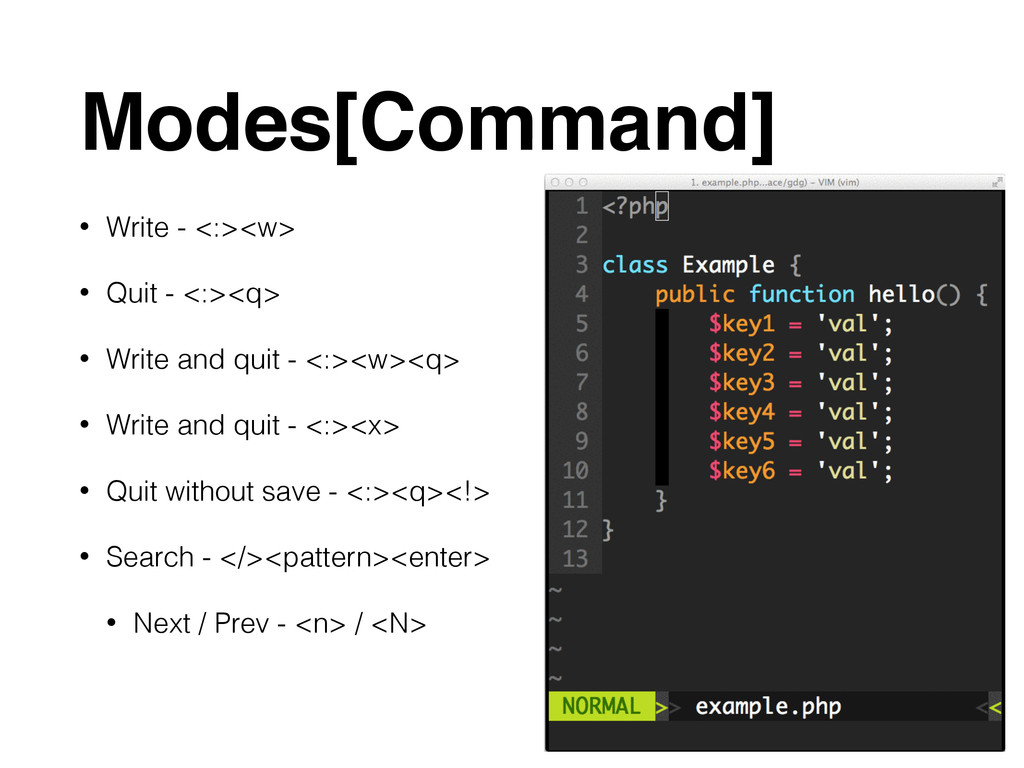 Modes[Command] • Write - <:><w> • Quit - <:><q>...