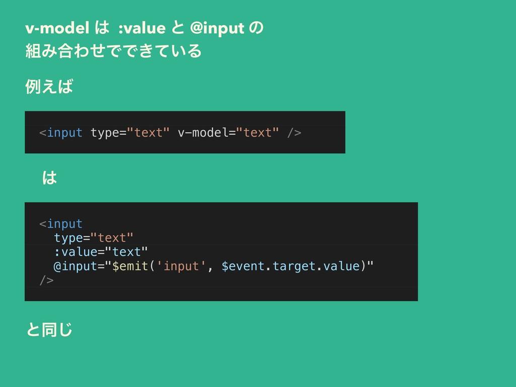 v-model  :value ͱ @input ͷ Έ߹ΘͤͰͰ͖͍ͯΔ <input ...