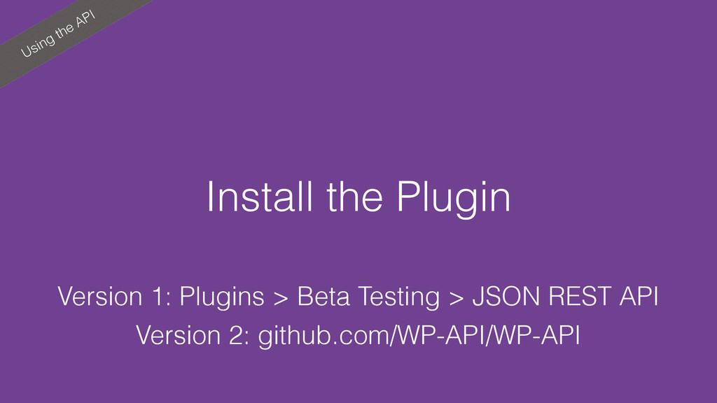 Using the API Install the Plugin Version 1: Plu...