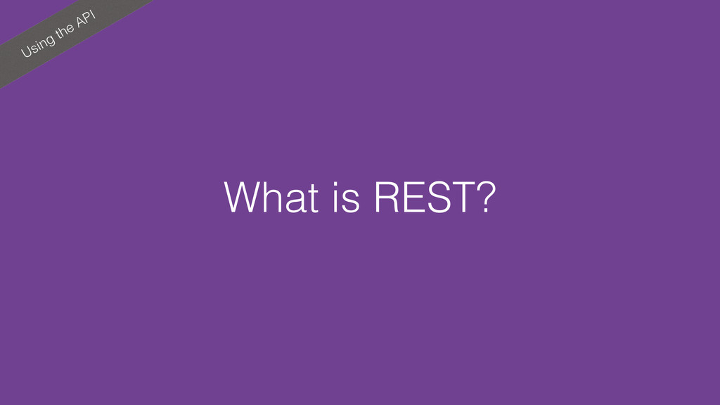 Using the API What is REST?