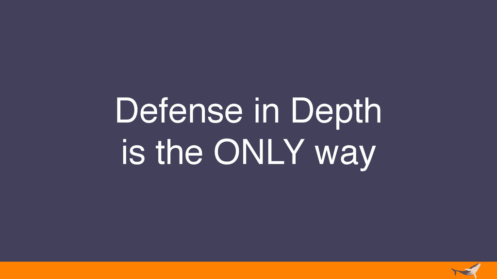 Defense in Depth is the ONLY way