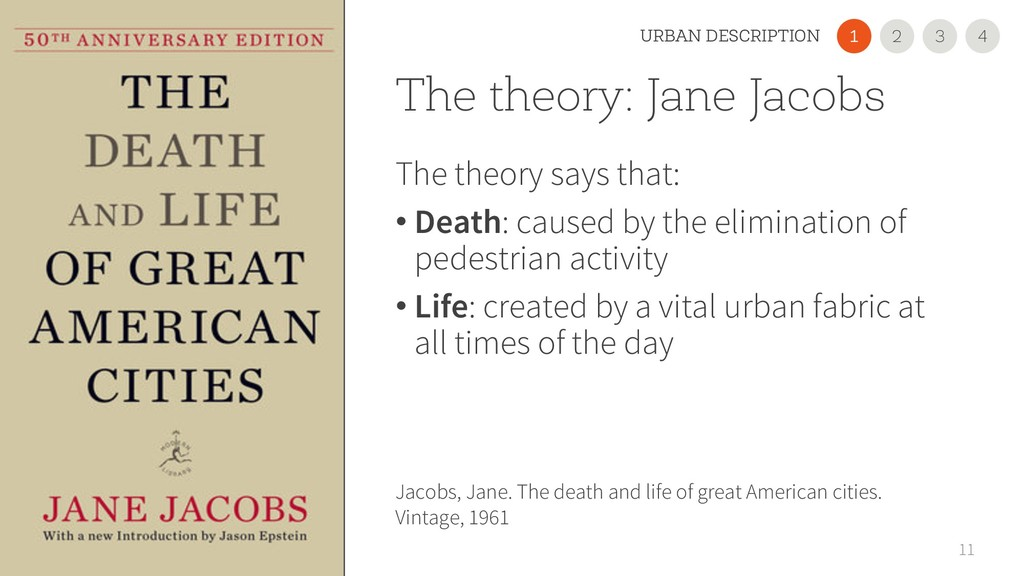 The theory: Jane Jacobs The theory says that: •...