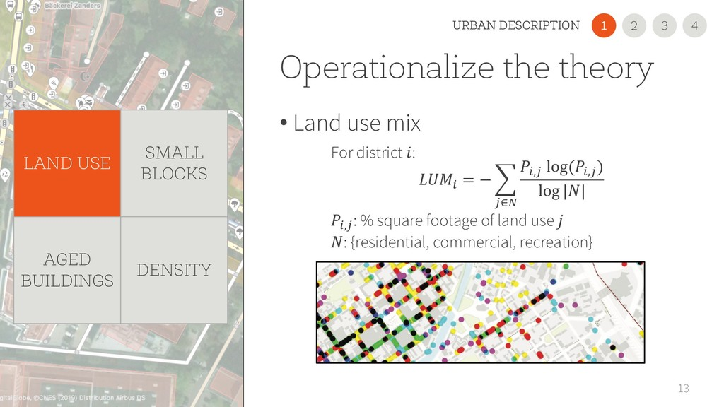 Operationalize the theory • Land use mix 13 For...
