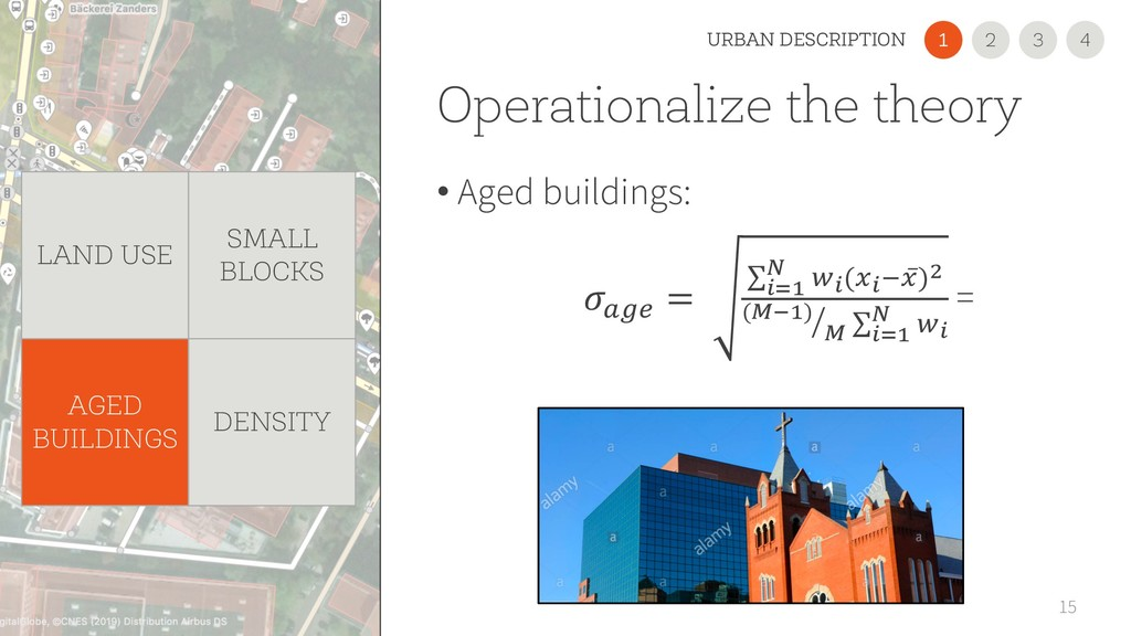 Operationalize the theory • Aged buildings: 15 ...