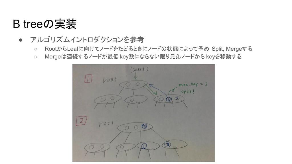 B tree 実装 ● アルゴリズムイントロダクションを参考 ○ RootからLeafに向けて...
