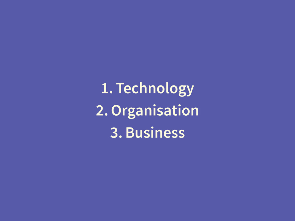 1. Technology 2. Organisation 3. Business