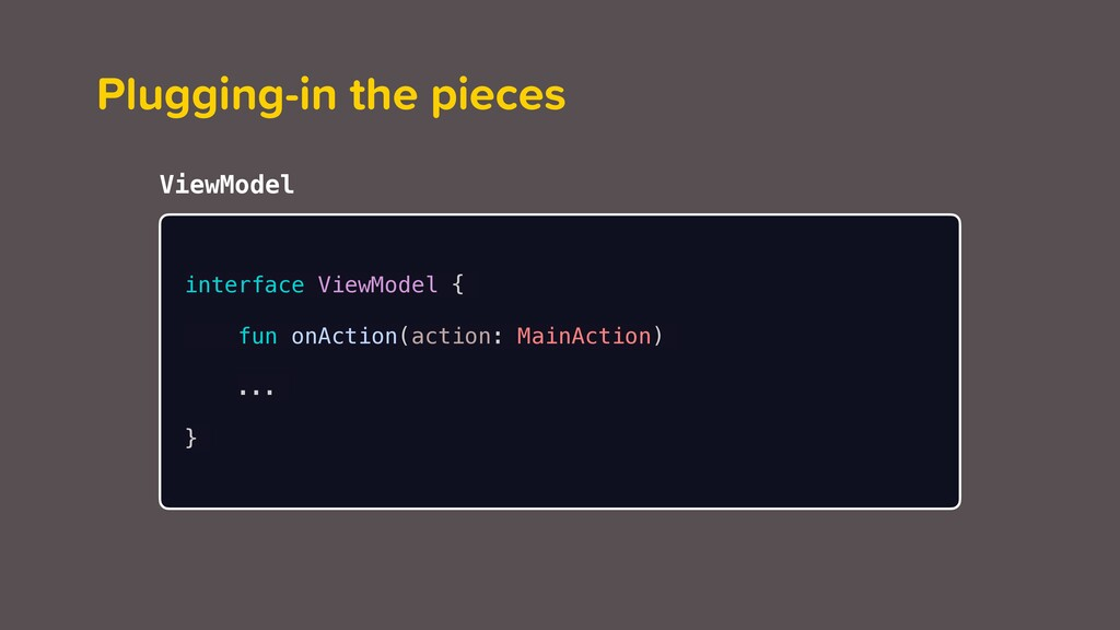 ViewModel Plugging-in the pieces interface View...