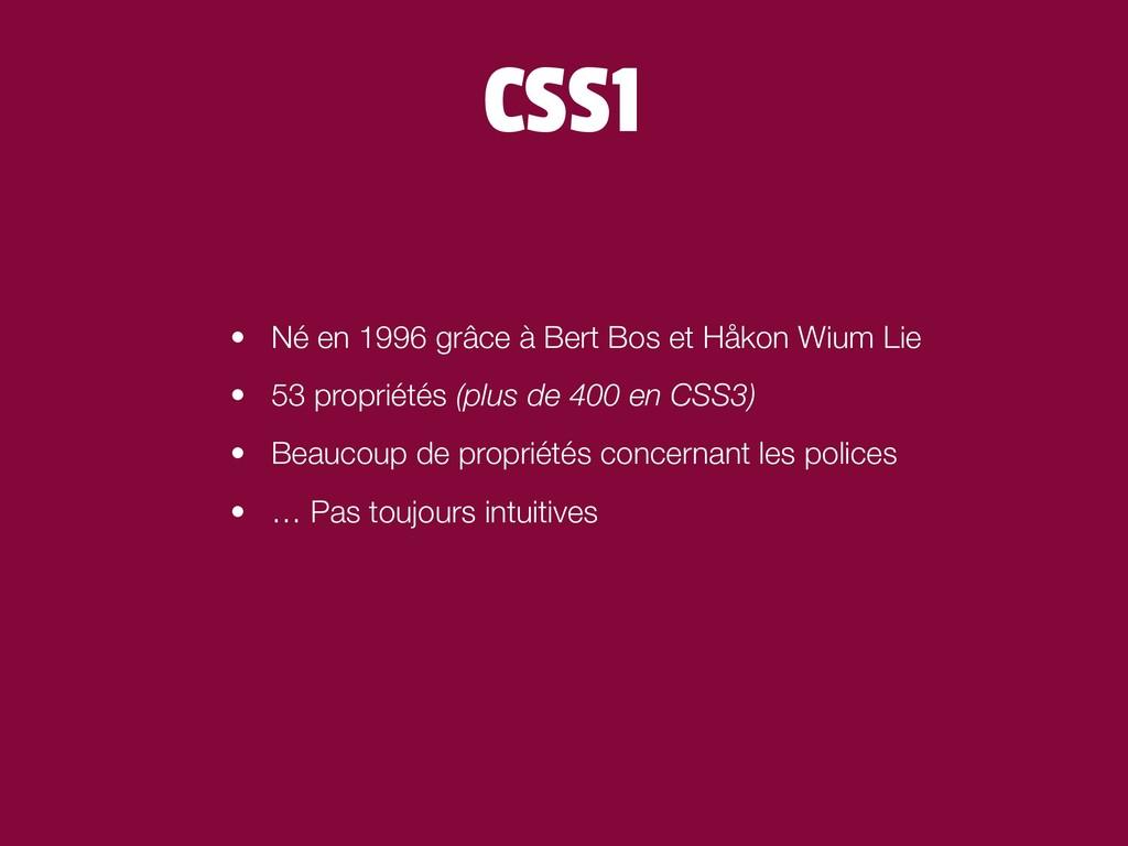 CSS1 • Né en 1996 grâce à Bert Bos et Håkon Wiu...