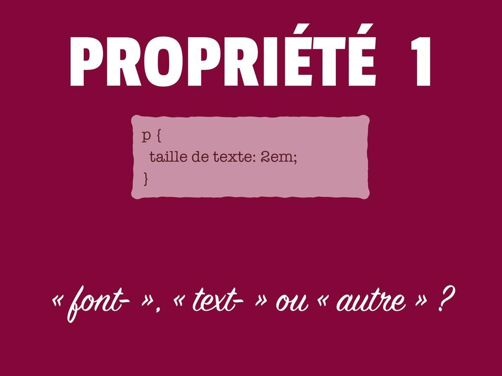 PROPRIÉTÉ 1 « font- », « text- » ou « autre » ?...