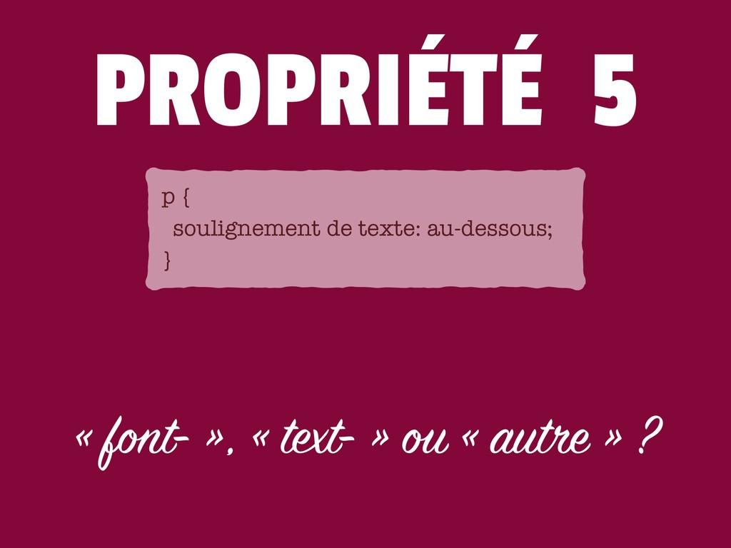 PROPRIÉTÉ 5 « font- », « text- » ou « autre » ?...