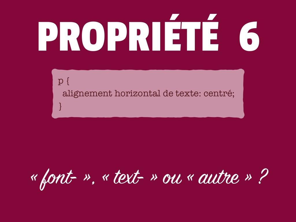 PROPRIÉTÉ 6 « font- », « text- » ou « autre » ?...