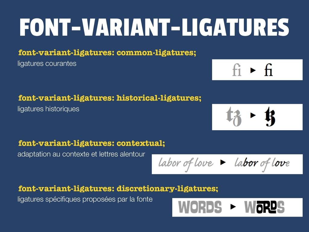 FONT-VARIANT-LIGATURES ligatures courantes font...