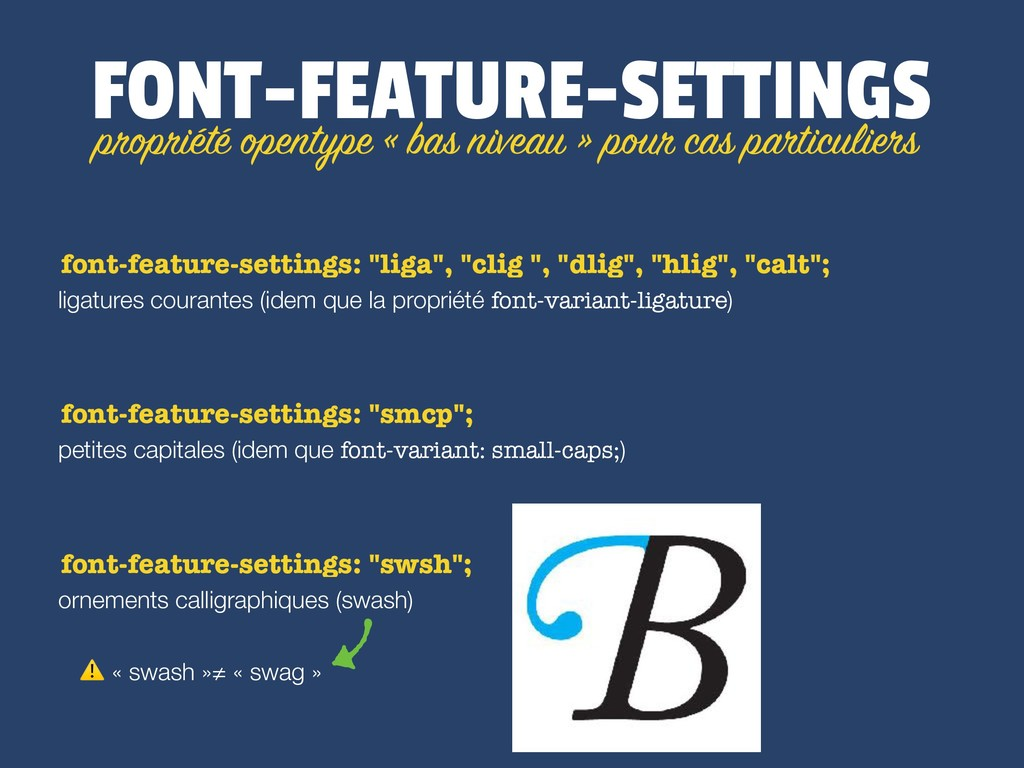 FONT-FEATURE-SETTINGS ligatures courantes (idem...