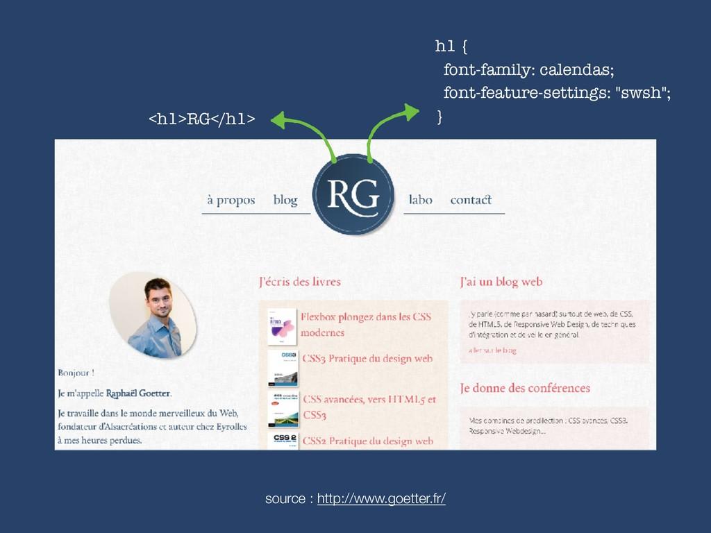 <h1>RG</h1> h1 { font-family: calendas; font-f...