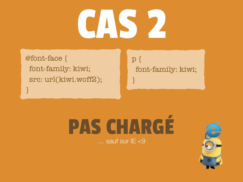 CAS 2 … sauf sur IE <9 @font-face { font-family...