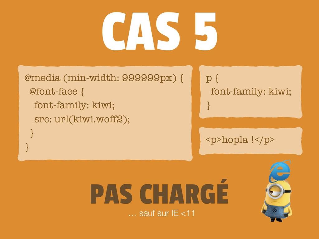 CAS 5 <p>hopla !</p> @media (min-width: 999999p...