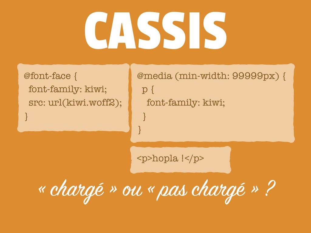 CASSIS « chargé » ou « pas chargé » ? <p>hopla ...