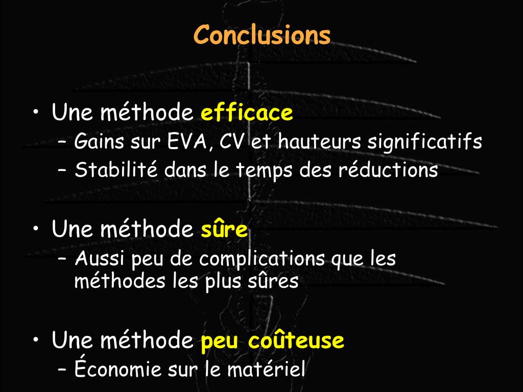 Conclusions • Une méthode efficace – Gains sur ...