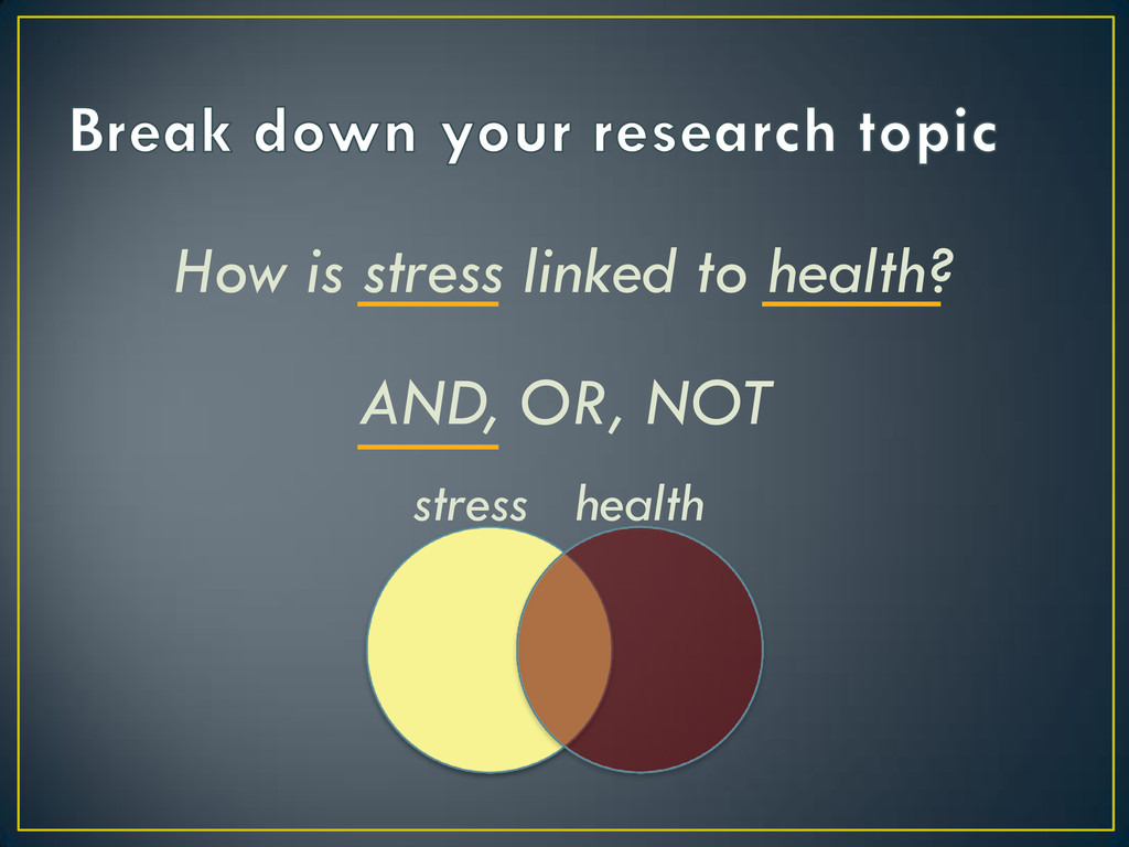 How is stress linked to health? AND, OR, NOT st...