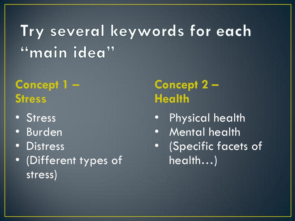 Concept 1 – Stress • Stress • Burden • Distress...