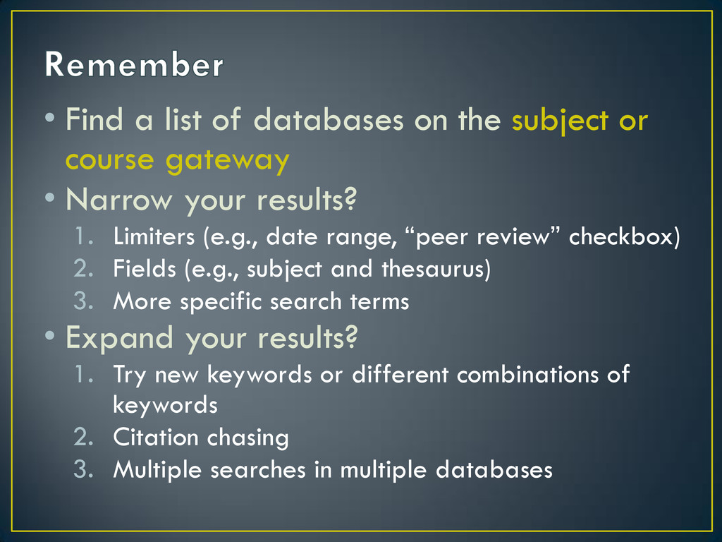 • Find a list of databases on the subject or co...
