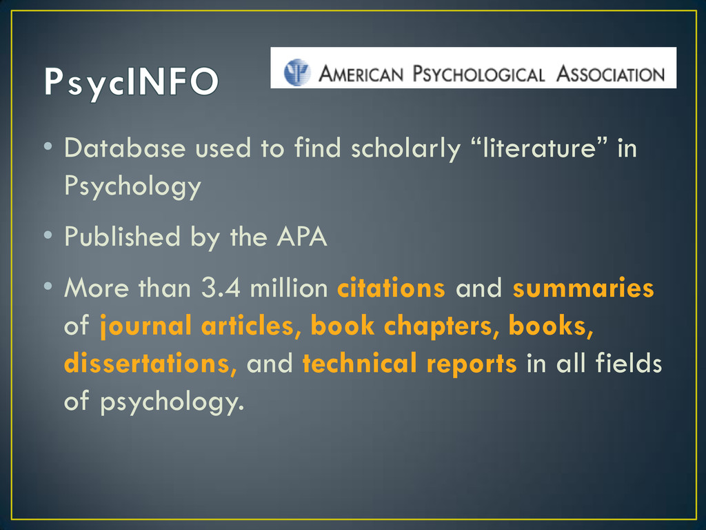 """• Database used to find scholarly """"literature"""" ..."""