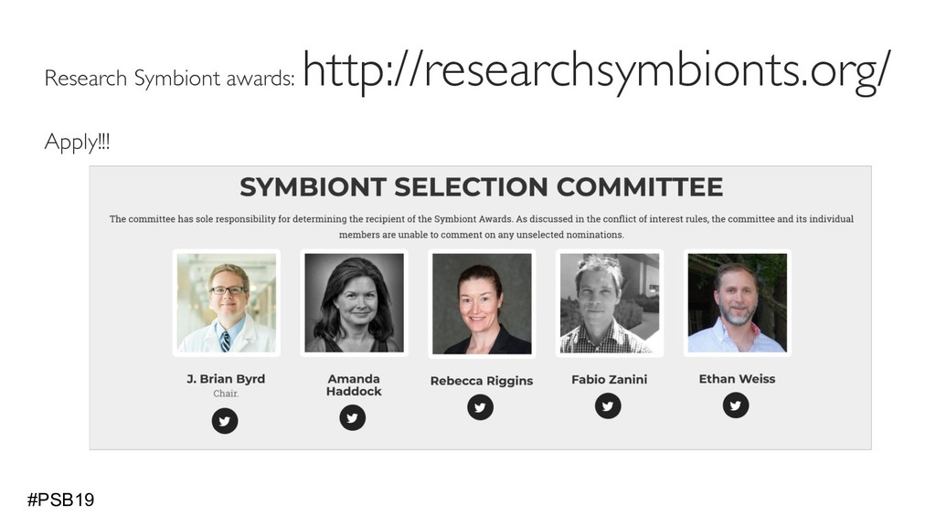 Research Symbiont awards: http://researchsymbio...