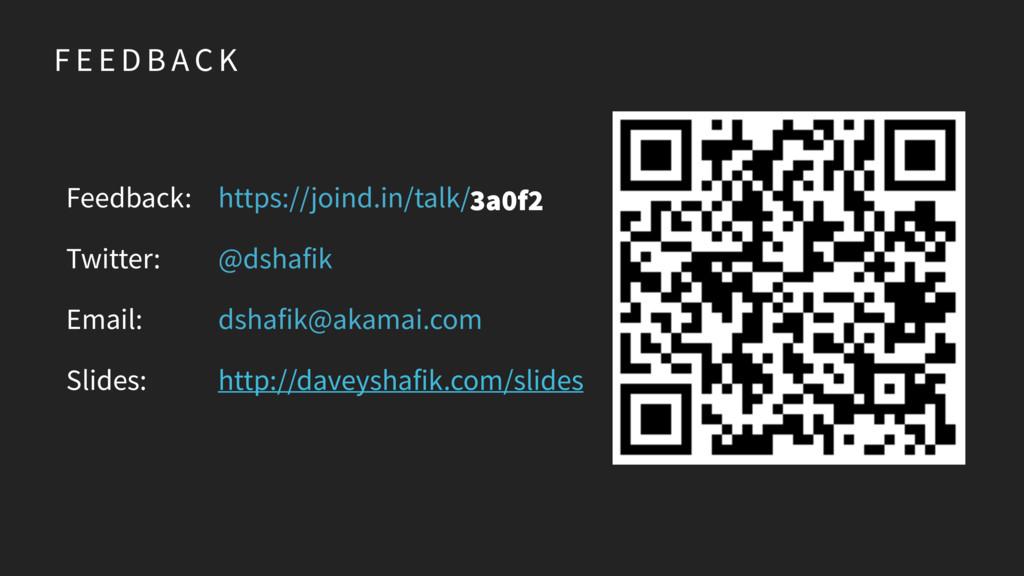 F E E D B AC K Feedback: Twitter: Email: Slides...