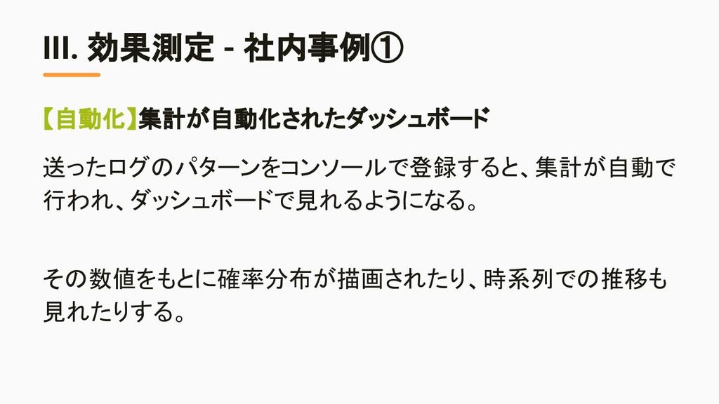 III. 効果測定 - 社内事例① 【自動化】集計が自動化されたダッシュボード 送ったログのパ...