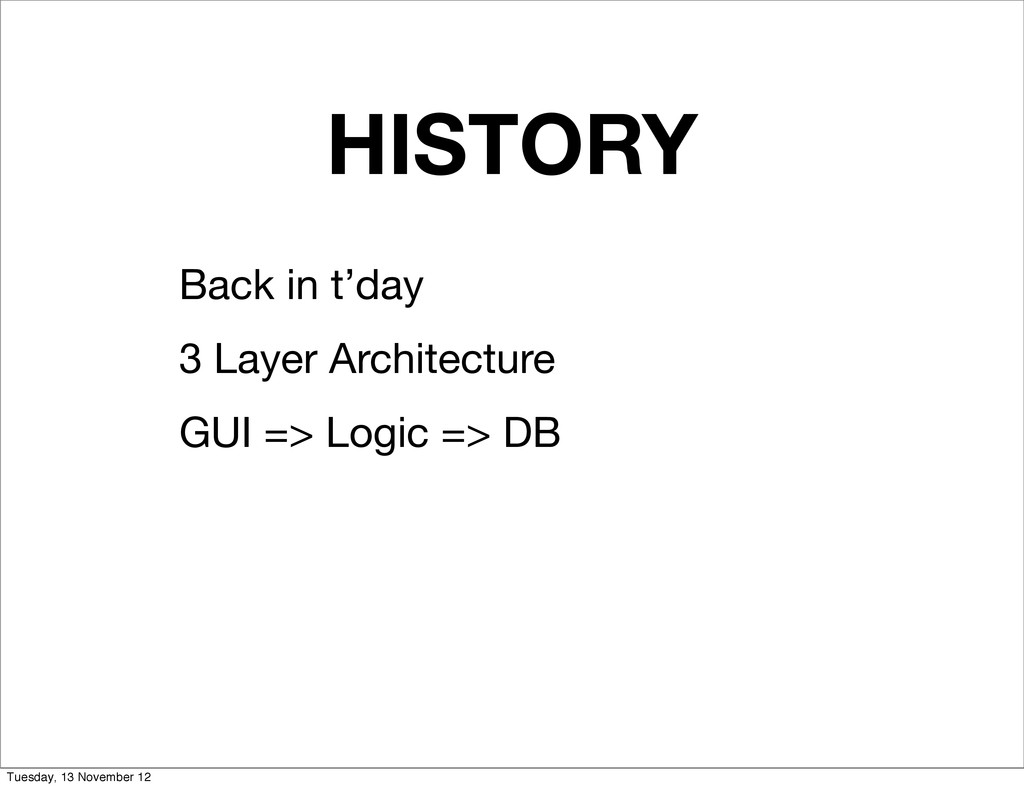 HISTORY Back in t'day 3 Layer Architecture GUI ...
