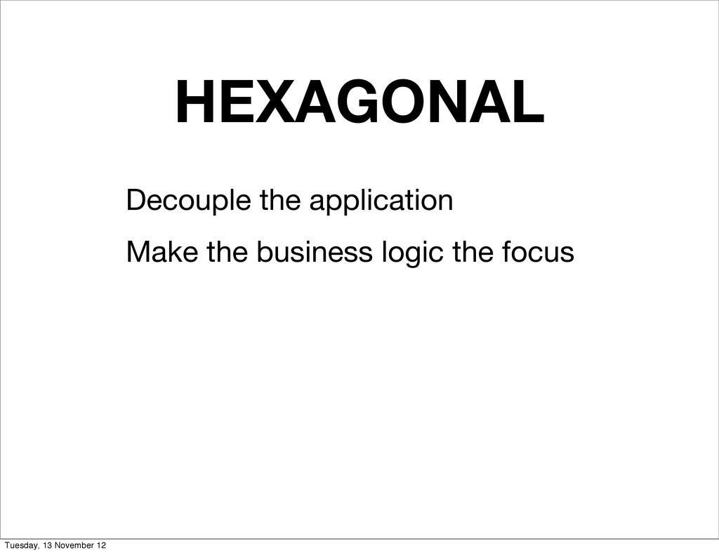 HEXAGONAL Decouple the application Make the bus...