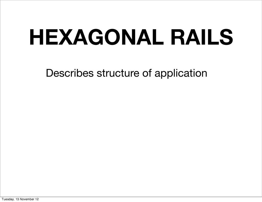 HEXAGONAL RAILS Describes structure of applicat...