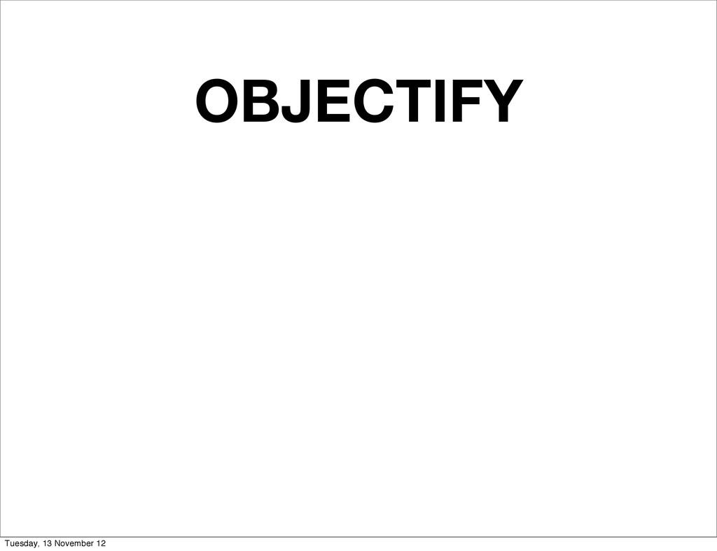 OBJECTIFY Tuesday, 13 November 12