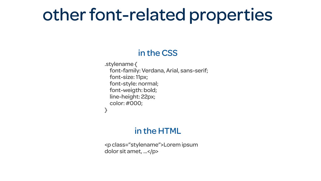 other font-related properties in the CSS .style...
