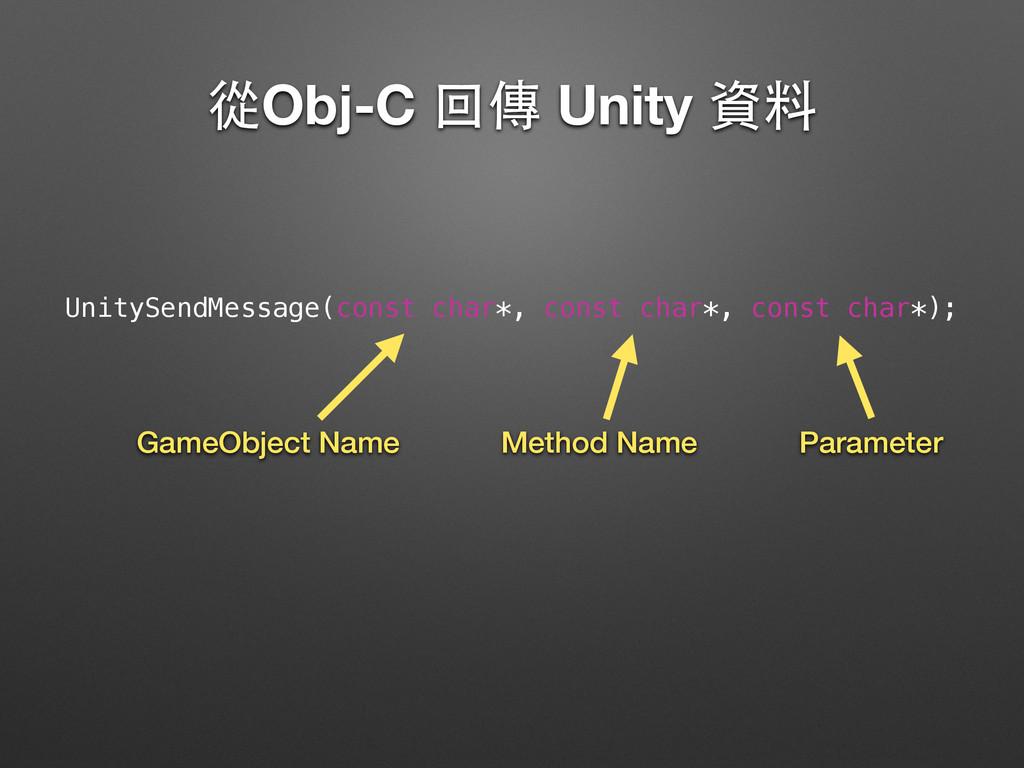 從Obj-C 回傳 Unity 資料 UnitySendMessage(const char*...