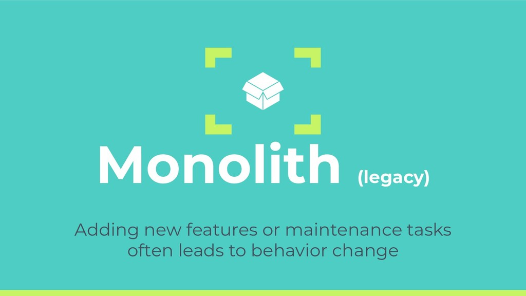 Monolith (legacy) Adding new features or mainte...