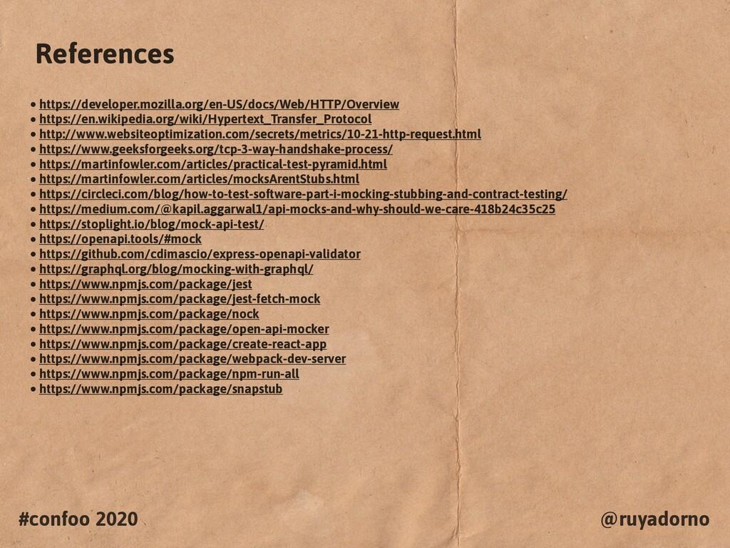 #confoo 2020 @ruyadorno References • https://de...