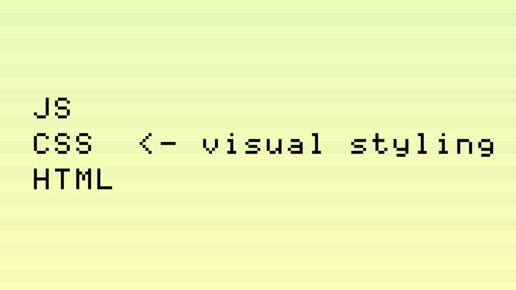 JS CSS <— visual styling HTML