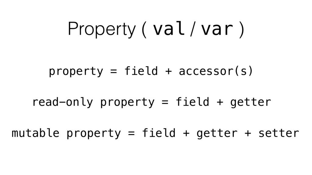 property = field + accessor(s) read-only proper...