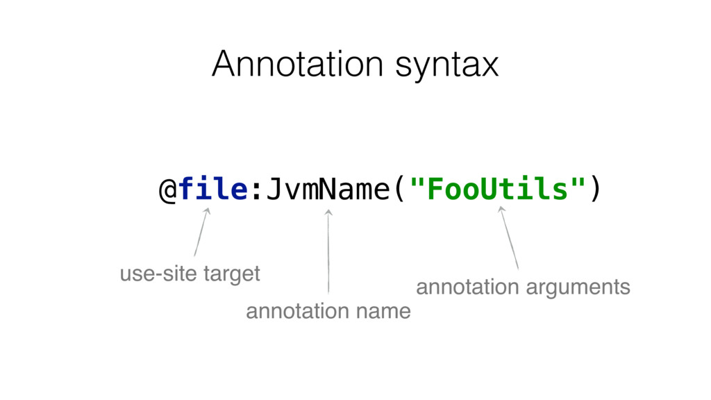 """Annotation syntax @file:JvmName(""""FooUtils"""") use..."""