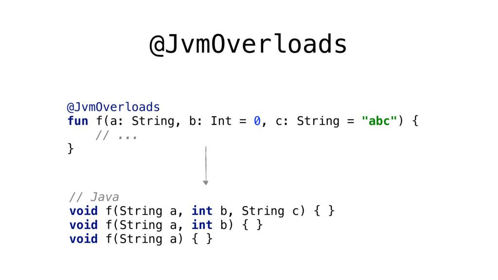 @JvmOverloads @JvmOverloads fun f(a: String, b...