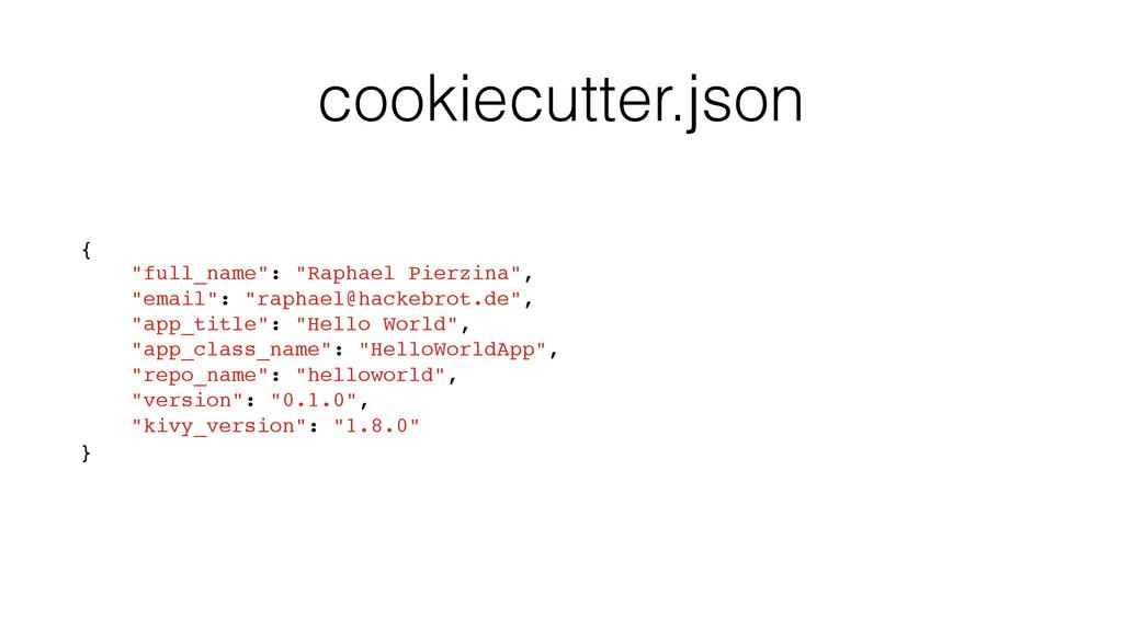 """cookiecutter.json { """"full_name"""": """"Raphael Pierz..."""