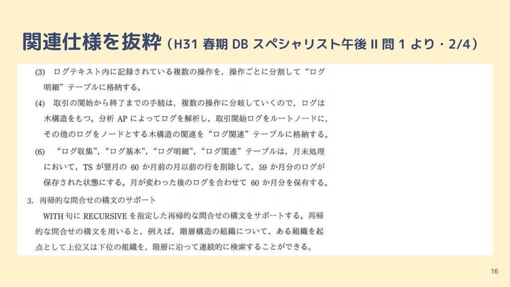 関連仕様を抜粋(H31 春期 DB スペシャリスト午後 Ⅱ 問 1 より・2/4) 16