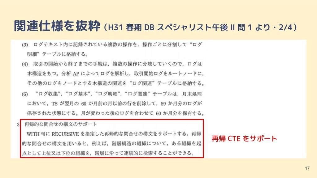 関連仕様を抜粋(H31 春期 DB スペシャリスト午後 Ⅱ 問 1 より・2/4) 17 再帰...