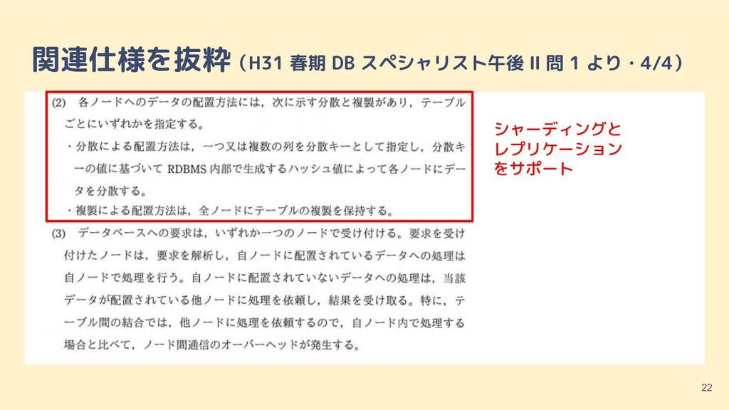 関連仕様を抜粋(H31 春期 DB スペシャリスト午後 Ⅱ 問 1 より・4/4) 22 シャ...
