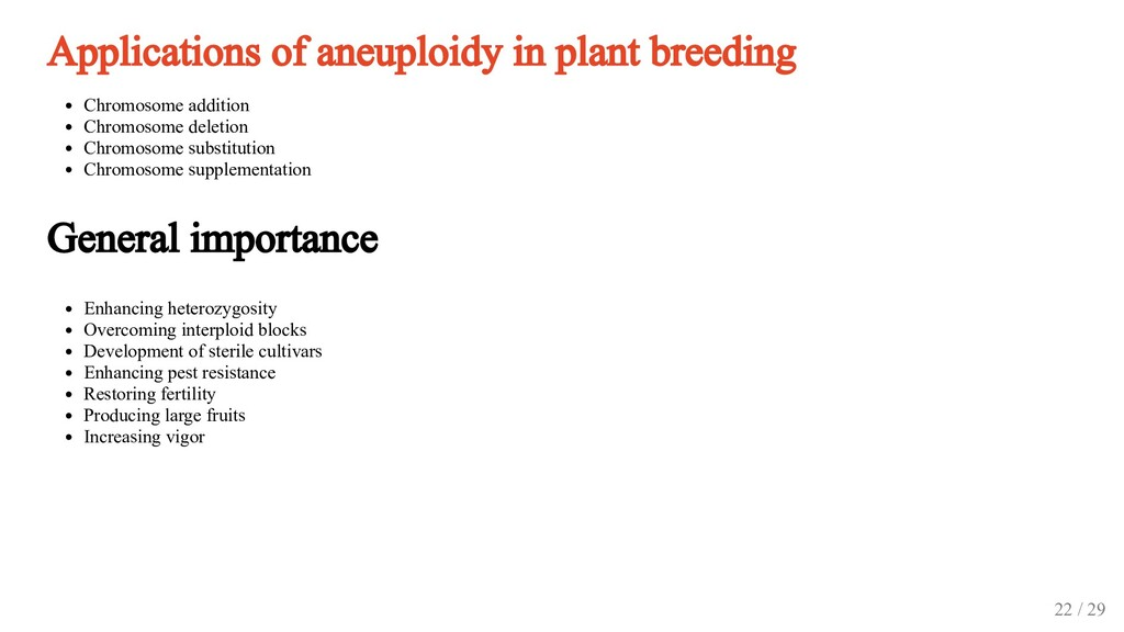 Applications of aneuploidy in plant breeding Ch...
